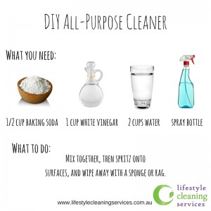 You can make your own All-purpose cleaner with only 3 ingredients found in your kichen.